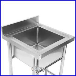 Commercial 304 Stainless Steel Kitchen Sink Square Single Sink 23.5 inch Wide