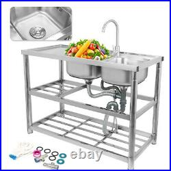 Commercial 304 Stainless Steel Sink Kitchen Handmade Wash Table 2 Bowls withTap