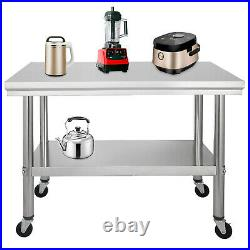 Commercial 36x24Stainless Steel Work Prep Table With 4 Wheels Kitchen