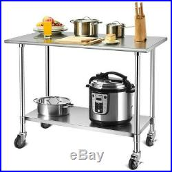 Commercial 48 x 24 Stainless Steel Work Prep Work Table With 4 Wheels Kitchen