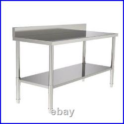 Commercial 60 Stainless Steel Work Heavy Duty Table With BACKSPLASH Kitchen US