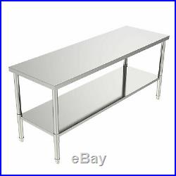 Commercial 72 x 24 Stainless Steel Food Work Prep Table Kitchen Restaurant NSF