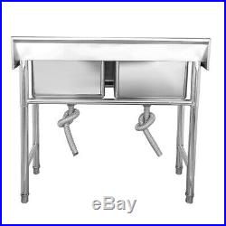Commercial Catering Stainless Steel Sink Kitchen Handmade Wash Table 2 Bowls