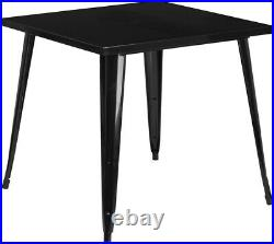 Commercial Grade 31.75 Square Metal Indoor-Outdoor Dining Patio Table