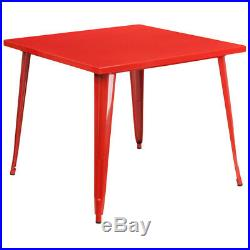 Commercial Grade 35.5 Square Colorful Metal Indoor-Outdoor Dining Table