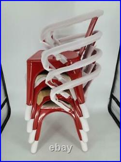 Commercial Grade 4 Pack Red Metal Indoor-Outdoor Chair with Arms, Red