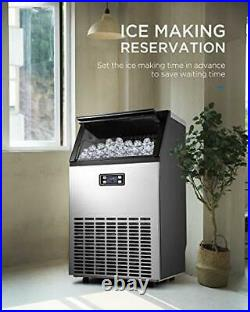 Commercial Ice Maker, Built-In Stainless Steel Ice Machine, 100LBS/24H Design
