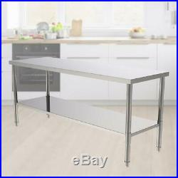 Commercial Kitchen 24 x 72 Stainless Steel Work Food Prep Table NSF Counter