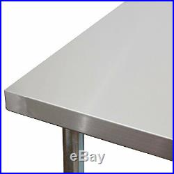 Commercial Kitchen Prep and Work Table, 96-Inch x 30-Inch, 430 Stainless Steel