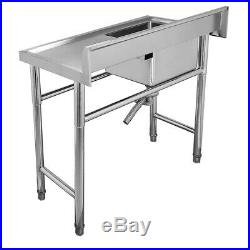 Commercial Kitchen Sink Stainless Steel Sink 100cm Wash Table Unit Single Bowls
