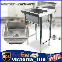 Commercial Kitchen Sink Stainless Steel Square Single Sink Washing Room Utility