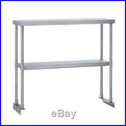 Commercial Kitchen Stainless Steel Double Overshelf for Work Tables 12x36