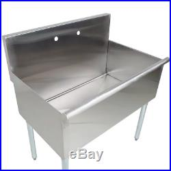 Commercial Kitchen Utility Sink Galvanized Adjustable Feet Stainless Steel 36