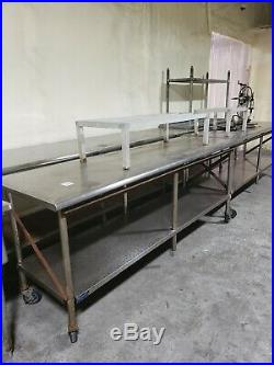 Commercial Kitchen stainless steel Work Table on wheels (96x30)