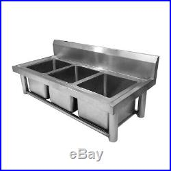 Commercial New 304 Stainless Steel Sink Kitchen 18 Gauge Triple Bowls US SHIP