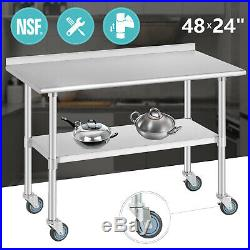 Commercial Prep Work Table 48x24 Stainless Steel Kitchen withCasters Backsplash