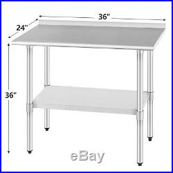 Commercial Prep Work Table withSplash Kitchen Restaurant Stainless Steel 24x36