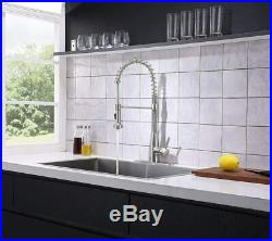 Commercial Single Handle Pull Down Sprayer Spring Stainless Steel Kitchen Faucet
