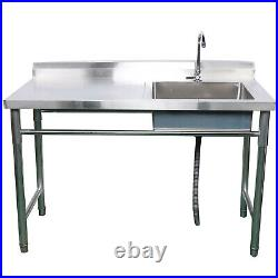 Commercial Sink Bowl Kitchen Catering Prep Table+1 Compartment Stainless Steel