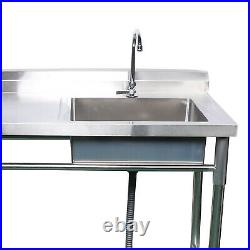 Commercial Sink Bowl Kitchen Catering Prep Table With 1 Compartment Steel withTap