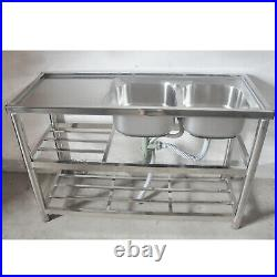 Commercial Stainless Steel Catering Sink 2 Bowl with Faucet Heavy Duty Kitchen