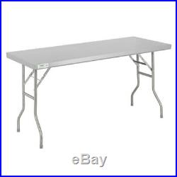 Commercial Stainless Steel Folding Work Prep Tables Open Kitchen NSF 18 Gauge