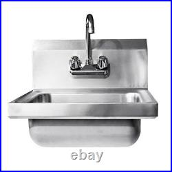 Commercial Stainless Steel Hand Wash Washing Wall Mount Sink Kitchen Lightweight