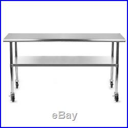 Commercial Stainless Steel Kitchen Food Prep Work Table with 4 Casters 24 x 72