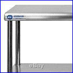 Commercial Stainless Steel Kitchen Prep Table Wide Double Overshelf 30 x 60