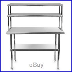 Commercial Stainless Steel Kitchen Prep Table with Double Overshelf- 30 x 48