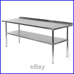 Commercial Stainless Steel Kitchen Prep Work Table with Backsplash 30 x 72
