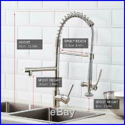 Commercial Stainless Steel Kitchen Sink Faucet Pull Down Sprayer Spring Mixer