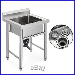 Commercial Stainless Steel Kitchen Sinks Utility Sink with backsplash- 23.5 wide