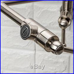 Commercial Stainless Steel Pot Filler Folding Swing Arm Brushed Nickel