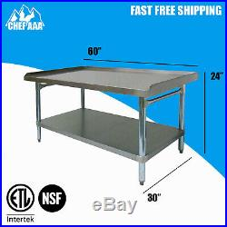 Commercial kitchen equipment work stand 30D x 60W x 24H stainless steel NSF