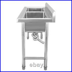 Complete Set Commercial Double Bowl Kitchen Sink Stainless Steel Catering Stand