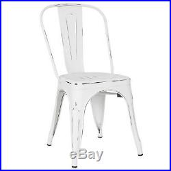 Distressed White Tolix Metal Stack Industrial Chic Dining Chair Commercial 1 2 4