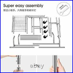 Double Rail Clothing Garment Rack, Heavy Duty Commercial Grade Rolling Clothes