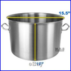 Dutch Oven Pot 32Qt Brushed Stainless Steel Commercial Restaurant Capsulated