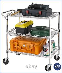 Finnhomy 3 Tier Heavy Duty Commercial Grade Utility Cart, Wire Rolling Cart with