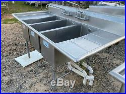 Fully Commercial Heavy Duty 77.5 Stainless Steel 3 Compartment Kitchen Sink NSF