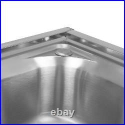 GOOD Stainless Steel Kitchen Sinks Rectangular Double Bowls & Faucet Commercial