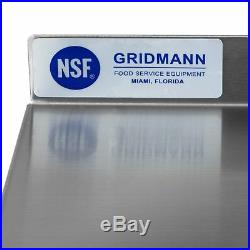 Gridmann NSF Stainless Steel Commercial Kitchen Prep Work Table with Backsplash