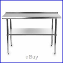Gridmann Stainless Steel Commercial Kitchen Prep Work Table with Backsplash, 48