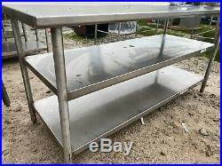 Heavy Duty 72 x 29.5 Commercial Stainless Steel Kitchen Work Prep Table NSF