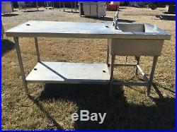 Heavy Duty Stainless Steel Prep Table With Sink Commercial Kitchen Workshop