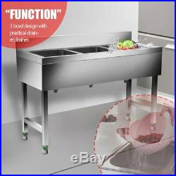 Heavy Duty Three 3 Compartment Stainless Steel Commercial Utility Sink Kitchen S