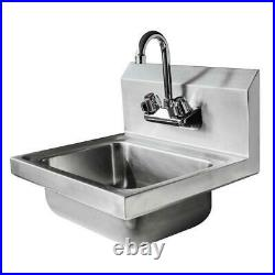 High Quality 17 Commercial Stainless Steel Wall Mount Kitchen Hand Sink Silver