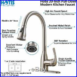 Hotis Commercial Stainless Steel Kitchen Faucet Pull Down Sprayer Brushed Nickel