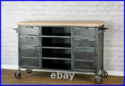 Industrial Kitchen Island, Mobile Bar Cart, Commercial Kitchen Island, Modern Wo